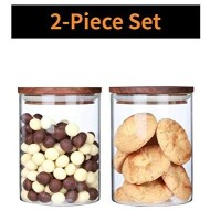 ARC USA 2Pcs Clear Glass Storage Jars with Wood Lids Wooden Lid Glass Canisters Airtight Lids Sealed Jars for Storage Tea Coffee Beans Sugar Salt Cookies and Candy (25floz X 2)