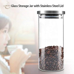 1000ml Coffee Container Canister Borosilicate Glass Coffee Beans Canister Storage Jar with Stainless Steel Lid for Coffee, Nuts, Sugar(1000ML)