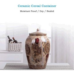 Airtight Food Storage Containers Bins Large With Lids, Ceramic Pottery Cereal Containers Canister Cookie Jar For Kitchen Pantry Organization Flour Rice Candy Bulk, 25L, 32x20cm
