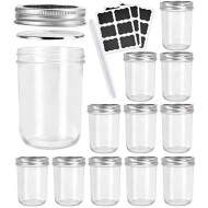16 OZ Glass Canning Jars,Betrome 12 Pack Wide Mouth Mason Jars with Airtight Lids and Bands for Salad,Jam,Honey,Food,Spice and More