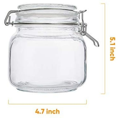 Glass Kitchen Storage Canister Mason Jars with Lids,25oz Airtight Glass Canister with Hinged Lid,Perfect for Kitchen Canning Cereal,Pasta,Sugar,Beans (Labels & Chalk Marker)-Set of 6