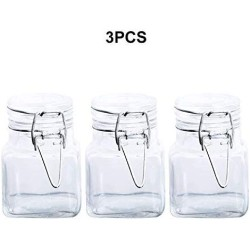 1/3/6/9/12 Pcs 3 Oz Airtight Square Spice Glass Jar With Leak Proof Rubber Gasket And Hinged Lid For Home,3Pcs A Set