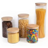 77L Food Storage Canister, (Set of 5) Upgraded Thickened Airtight Food Storage Jar Set with Wooden Lid, [5 Different Sizes] Glass Pantry Canister/Jar Serving for Coffee, Oats, Sugar and More (Clear)