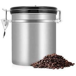 1.5L Airtight Coffee Container Storage Canister Set for Coffee Beans Gound Spices Food Tea Container Caddy Kitchen Tools,Sliver