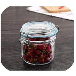 1 Piece Glass Storage Bottles Jars With Lid Large Capacity Honey Candy Jar Kitchen Container Sealed With Cover,250Ml-1