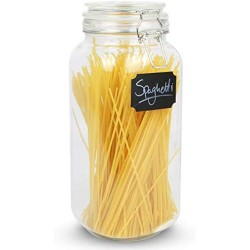 2.2L Clip Top Spaghetti Storage Jar | Round Glass Airtight Vintage Tall Container | Pasta & Cereal Jar | Dry Food Containers | M&W