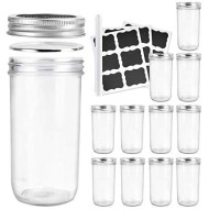 Betrome 22 OZ Wide Mouth Mason Jars, 12 Pack Glass Storage Containers with Airtight Lids and Bands for Salad,Jam,Honey,Food,Spice,Party Favors,Baby Favors,Wedding Favors