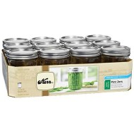 Kerr Wide Mouth Pint Glass Mason Jars 16-Ounces with Lids and Bands 12-Count per Case (1-Case)