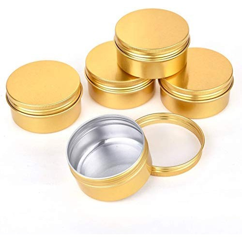 Healthcom 12 Pcs 3 oz Golden Screw Top Metal Steel Tins Round Aluminum Tin Cans Empty Lip Balm Tin Jars Cosmetic Sample Containers Bulk Food Storage Candle Travel Tins(90g)