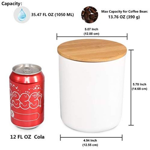 Food Storage Jar, 35.47 FL OZ (1050 ML), 77L Ceramic Food Storage Jar with Airtight Seal Bamboo Lid - Modern Design White Ceramic Food Storage Canister for Serving Tea, Coffee, Spice and More