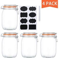Encheng 32 oz Glass Jars With Airtight Lids And Leak Proof Rubber Gasket,Wide Mouth Mason Jars With Hinged Lids For Kitchen Canisters 1000ml, Glass Storage Containers 4 Pack