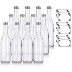 12 oz Clear Glass Vintage Bottle with Silver Aluminum Cap (12 pack) + Labels for Sauce, Dressings, Syrup, and Marinades