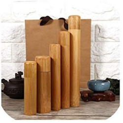 1 Pcs Bamboo Tube Tea Box Airtight Small Container Spices Storage Jar With Lid Dtt88,12X2.5Cm