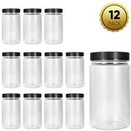 34oz Plastic Jars with Lids, Accguan Durable Round Food Grade Air Tight Containers,Ideal for Kitchen & Household Storage of Dry Goods,Peanut Butter,set of 12