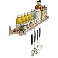 Wall Mount Spice Rack Storage Organizer, Kitchen Seasoning Hanging Rack for Pantry Herb Jar Bottle Cans Holder Shelf with 4 Hooks, Bathroom Shelf with 4 hooks, Durable-SUS 304 Stainless (23.6)