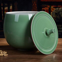Airtight Dry Food Storage Containers with Lids Large Kitchen Ceramic Porcelain Flour Canisters Jars,Rustic Home Decor,Pantry Organization and Storage for Flour Snacks Sugar Coffee Cereals 14L Green