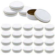 Mimi Pack 24 Pack Tins 2 oz Shallow Round Tins with Solid Slip Lids Empty Tin Containers Cosmetics Tins Party Favors Tins and Food Storage Containers (White)
