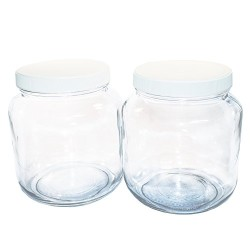 (2 Pack) 1/2 Gallon Clear Glass Jar with White Plastic Cap
