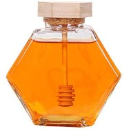 Liitrton Hexagon Shape Honey Pot Jar with Dipper Heat-Resistant Glass Storage Container for Home Kitchen (S)
