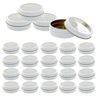 Mimi Pack 24 Pack Tins 2 oz Shallow Round Tins with Clear Window Lids Empty Tin Containers Cosmetics Tins Party Favors Tins and Food Storage Containers (White)