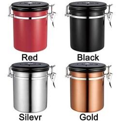 1.5L Coffee Container Airtight Stainless Steel Coffee Bean Sealed Can Preserves Food Freshness Vacuum Seal Storage Jar for Coffee, Tea, Sugar, Nuts and Powders(Black)