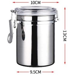 HHXQXB Coffee CanisterTravel Jar Durable Carbon Steel Whole/Ground Coffee BeanStainless Steel Spice Jar Modern Design Clear Glass Food Storage Canister for Serving Tea, Coffee, Spice and More