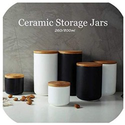 260 ML/800 ML Sealed Ceramic Storage Jar For Spices Tank Container For Eating With Lid Coffee Tea Coffee Sugar Kitchen Bottle,black 260ml