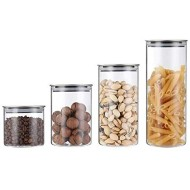 NNDQ Glass Storage Jar with Airtight Stainless Steel Lids/Clear Glass Canisters, Borosilicate Vacuum Seal for Tea Coffee Flour Snacks Set of 4