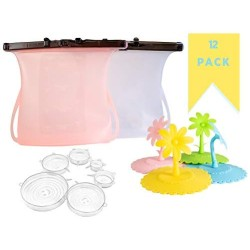 12 Piece Set Eco Friendly Kitchen  Items. (2) Reusable Silicone Food Storage Bags, Leak-Proof, Stand-Up, Airtight, Microwave to Freezer Plus (6) Silicone Stretch Lids Plus (4) Cup Covers.