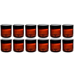 (Set of 12) Amber 4 Ounce Plastic Straight Sided Jars with Smooth Black Lids