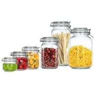 BAKOUSTAR Kitchen Storage Containers With Lids Set of 6 Kitchen Canisters-Cookie, oatmeal, fruit, Rice and Spice Jars - Sugar or Flour Container - Big and Small Airtight Food Jar for Pantry