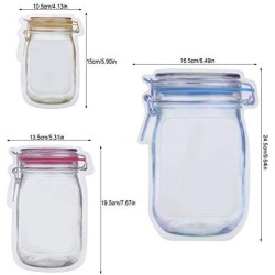 10 Pieces Mason Jar Pattern Food Saver Storage Bags Set Airtight Reusable Bottle Modeling Zippers Food Container Kitchen Organizer Childrens Snacks Fresh Bags