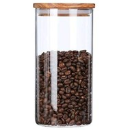 ARC USA Clear Glass Storage Jars with Wood Lids Wooden Lid Glass Canisters Airtight Lids Sealed Jars for Storage Tea Coffee Beans Sugar Salt Cookies and Candy (39floz)