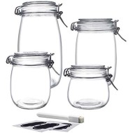 YEBODA Food Storage Canister Set Glass Jars with Clamp Airtight Lids and Silicone Gaskets for Multi-Purpose Kitchen Containers - Clear Round (4 Piece)
