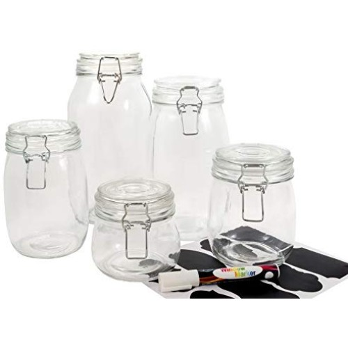 HomEquip 5-Piece Airtight Canister Set with Clip Top Lids (Clear Glass): Kitchen Preserving Storage Jars - Great Dry Food Pantry Containers for Pasta, Cereal, Cookies, Sugar, Flour, Coffee & Tea