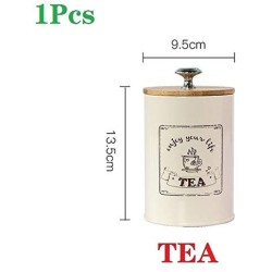 1-3PCS Storage Tank Nordic Style Bamboo Cover Sealed Jar Coffee Pot Tea Can Sugar Bowl Snack Candy Moisture Proof with Seal Hot (Color : TEA)