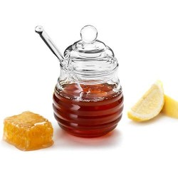 KooK Honey Jar with Dipper, Holds 9oz, Glass, Holder, Container
