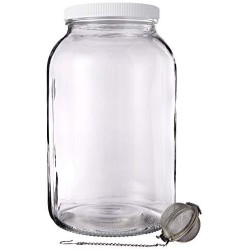 1 Gallon Mason Jar - Glass Kombucha Jar with Stainless Steel Tea Infuser - Home Brewing and Fermenting Kit with Cheesecloth Filter, Rubber Band and Plastic Lid - By Kitchentoolz
