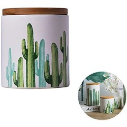 Cactus Ceramic Food Storage Jar with Seal Wooden Lid,Modern Design White Ceramic Food Storage Canister for Serving Coffee, Sugar, Tea, Salt, Spices and more Kitchen Food (Small)