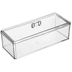 1 Pc Acrylic Transparency Food Storage Box Rectangle Tea Bag Organizer Kitchen Sorting Container with Dustproof Cover