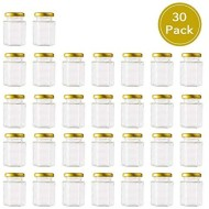 Encheng 4 oz Clear Hexagon Jars,Small Glass Jars With Lids(Golden),Mason Jars For Herb,Foods,Jams,Liquid,Spice Jars For Storage 30 Pack
