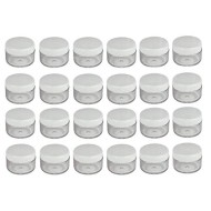 24PCS 15ml/0.5 OZ Empty Clear Plastic Cosmetic Sample Pots Jars with White Lids Round Refillable Bottles Makeup Case Holder Storage Container for Travel Eye Shadows Creams Lipsticks