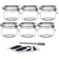 YEBODA 16oz Food Storage Canister Glass Jars with Clamp Airtight Lids and Silicone Gaskets for Multi-Purpose Kitchen Containers - Clear Square (6 Pack)