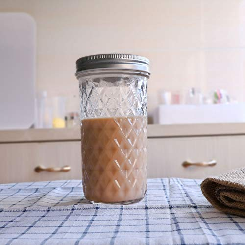 Wide Mouth Mason Jars With Lids, Accguan 16oz Airtight Glass Jars for Food Storage, Clear Mason Jars Ideal for Dry Food, Peanut Butter, Coffee Bean and Jam Storage, Set of 12