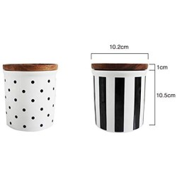One-Pine Ceramic Food Storage Jar with Environmentally Friendly Sealed Lid,585ml/20oz Food Storage Canister Container for Tea Sugar Coffee Bean Nuts Grain (Wave point)