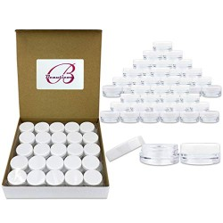 (Quantity: 100 Pieces) Beauticom 3G/3ML Round Clear Jars with White Lids for Lotion, Creams, Toners, Lip Balms, Makeup Samples - BPA Free