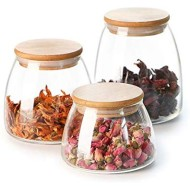 Mii-Home 3-Piece Large Glass Canisters Set Food Storage Jar Containers with Airtight Seal Bamboo Lid for Preserving Dry Food, Cereal, Cookies, Coffee and Tea