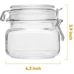 Glass Kitchen Storage Canister Mason Jars with Lids,16oz Airtight Glass Canister with Hinged Lid,Perfect for Kitchen Canning Cereal,Pasta,Sugar,Beans (Labels & Chalk Marker)-Set of 6