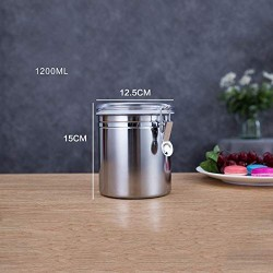 Coffee CanisterTravel Jar Durable Carbon Steel Whole/Ground Coffee BeanStainless Steel Spice Jar Modern Design Clear Glass Food Storage Canister For Serving Tea, Coffee, Spice And More(1512.5cm)
