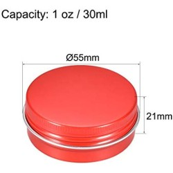 uxcell 1 oz Round Aluminum Cans Tin Can Screw Top Metal Lid Containers 5 Colors 30ml, 10pcs
